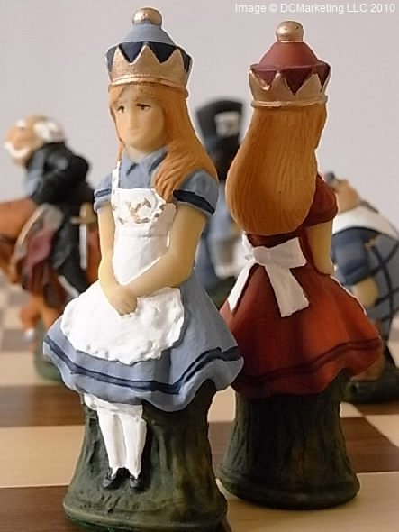 Alice In Wonderland Hand Painted Theme Chess Set