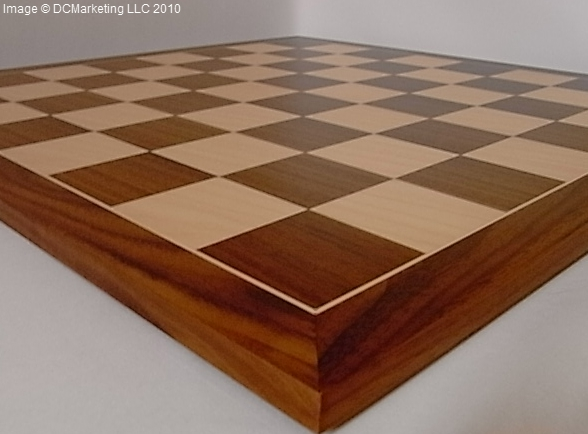 Deluxe Walnut & Maple Wood Veneer Chess Board - 54cm