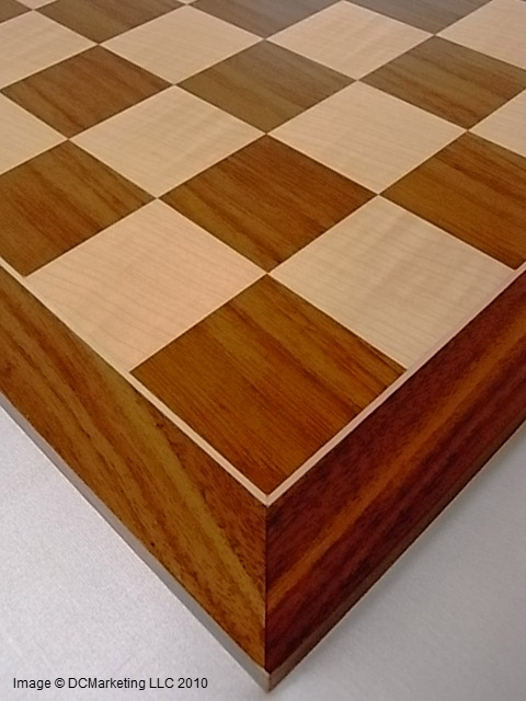 Deluxe Walnut and Maple Wood Veneer Chess Board - 50 cm