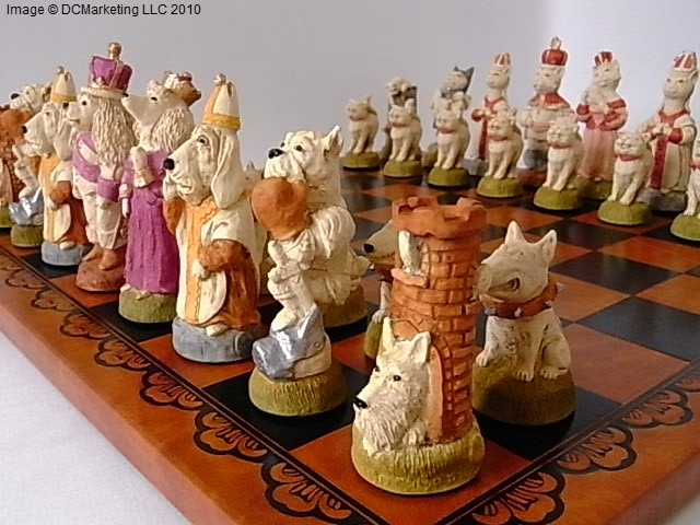 Cats v Dogs Hand Painted Theme Chess Set