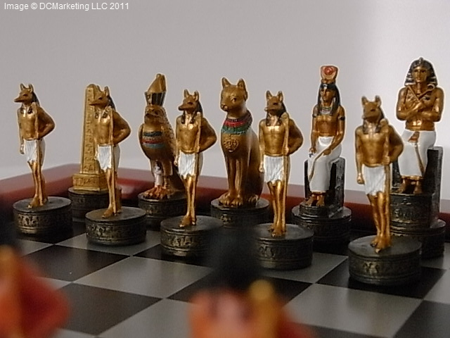 Egyptian Hand Decorated Themed Chess Set - Including Chess Board