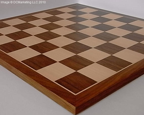 Deluxe Walnut and Maple Wood Veneer Chess Board - 40cm